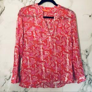 Oliphant Paisley Blouse Pink Print Long Sleeve S